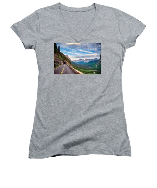 Going To The Sun Women's V-Neck T-Shirt (Junior Cut) by Renee Sullivan