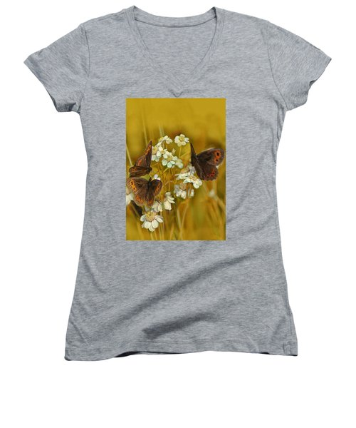 Women's V-Neck T-Shirt (Junior Cut) featuring the photograph Gold And Brown by Jacqi Elmslie
