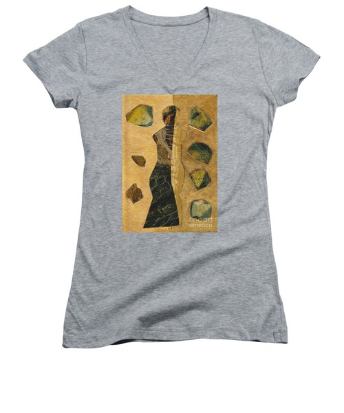Gold Black Female Women's V-Neck T-Shirt (Junior Cut) by Patricia Cleasby