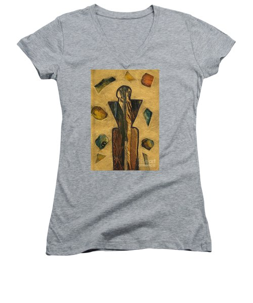Gold Black Male Gems Women's V-Neck T-Shirt (Junior Cut) by Patricia Cleasby