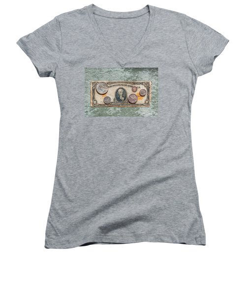 Gold Certificate And Silver Coins Ver 1 Women's V-Neck (Athletic Fit)