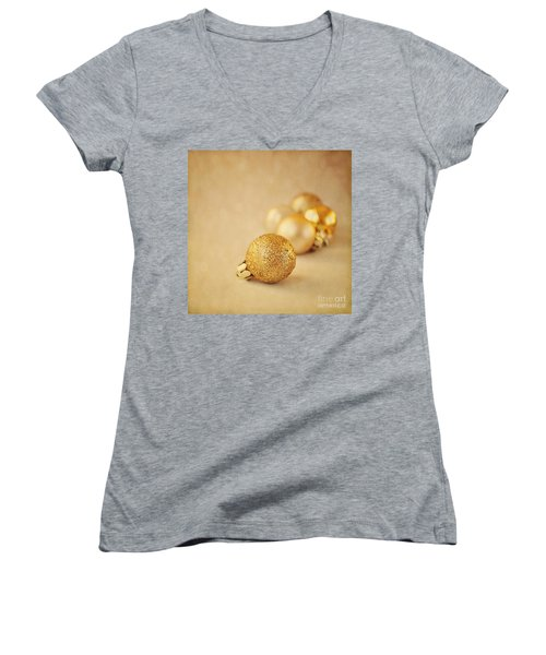 Gold Glittery Christmas Baubles Women's V-Neck (Athletic Fit)