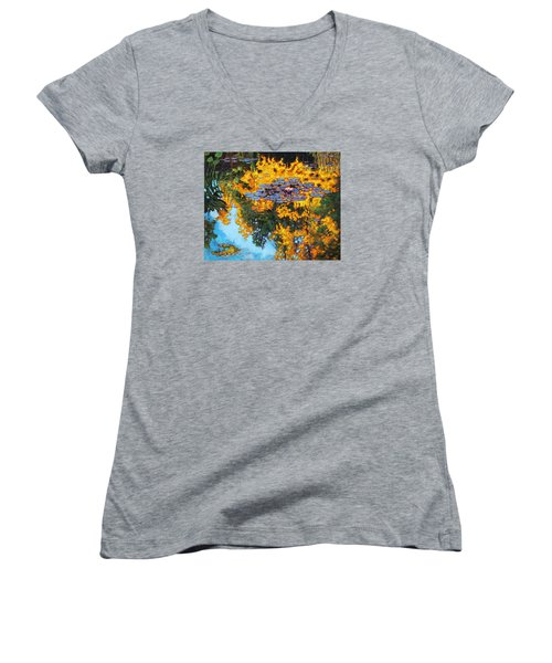 Gold Reflections Women's V-Neck T-Shirt (Junior Cut) by John Lautermilch