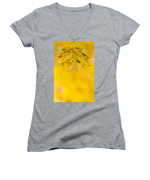 Women's V-Neck T-Shirt (Junior Cut) featuring the photograph Golden Autumn by Sebastian Musial