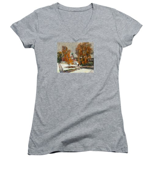 Golden Autumn Under Snow Women's V-Neck T-Shirt