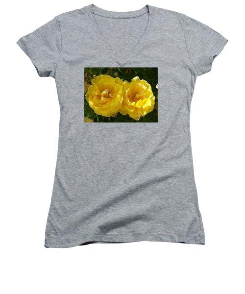 Women's V-Neck T-Shirt (Junior Cut) featuring the photograph Golden Beauty by Jewel Hengen