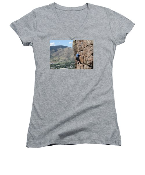 Golden Climbing Women's V-Neck T-Shirt (Junior Cut) by Chris Thomas