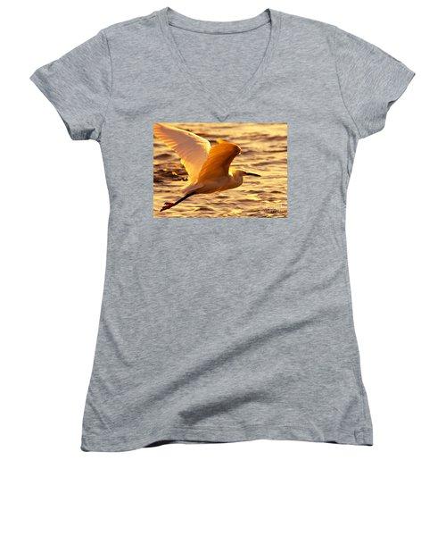 Golden Egret Bird Nature Fine Photography Yellow Orange Print  Women's V-Neck T-Shirt