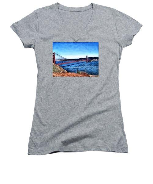 Windy Day At Golden Gate Bridge Women's V-Neck T-Shirt