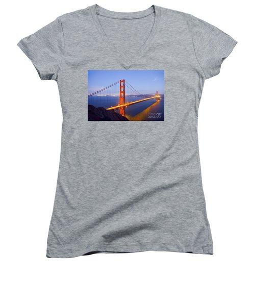 Golden Gate Bridge At Dusk Women's V-Neck