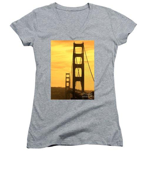 Women's V-Neck T-Shirt (Junior Cut) featuring the photograph Golden Gate Bridge  by Clare Bevan