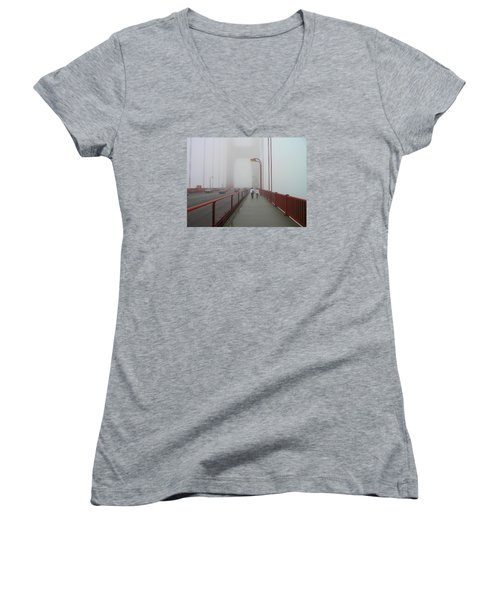 G. G. Bridge Walking Women's V-Neck T-Shirt (Junior Cut) by Oleg Zavarzin