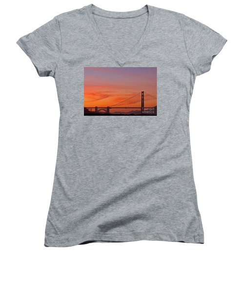 Golden Gate Sunset Women's V-Neck (Athletic Fit)
