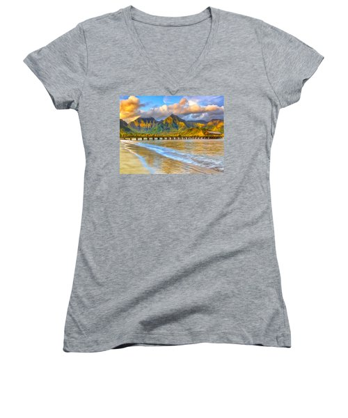 Golden Hanalei Morning Women's V-Neck