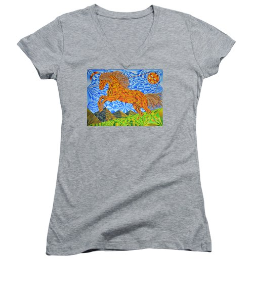 Golden Horse Over The Bitterroot's Women's V-Neck T-Shirt (Junior Cut) by Joseph J Stevens