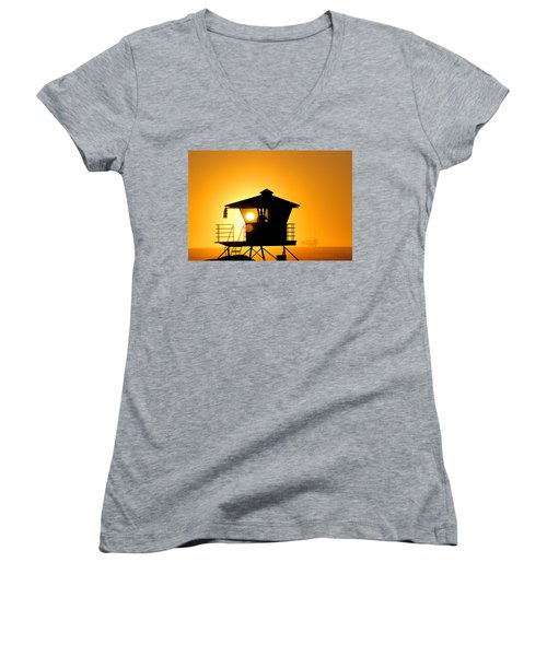 Women's V-Neck T-Shirt (Junior Cut) featuring the photograph Golden Hour by Tammy Espino