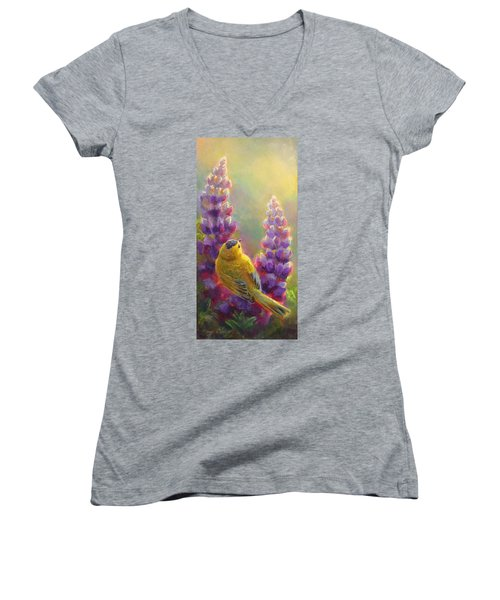 Golden Light 1 Wilsons Warbler And Lupine Women's V-Neck