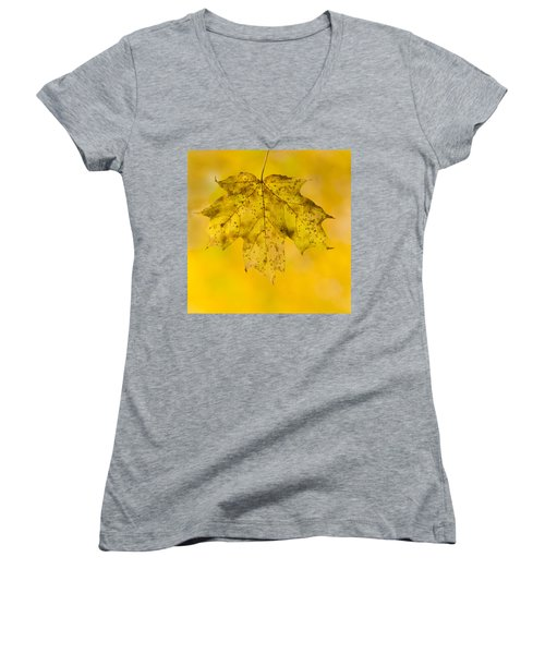 Women's V-Neck T-Shirt (Junior Cut) featuring the photograph Golden Maple Leaf by Sebastian Musial