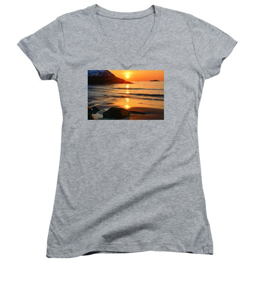 Women's V-Neck featuring the photograph Golden Morning Singing Beach by Michael Hubley