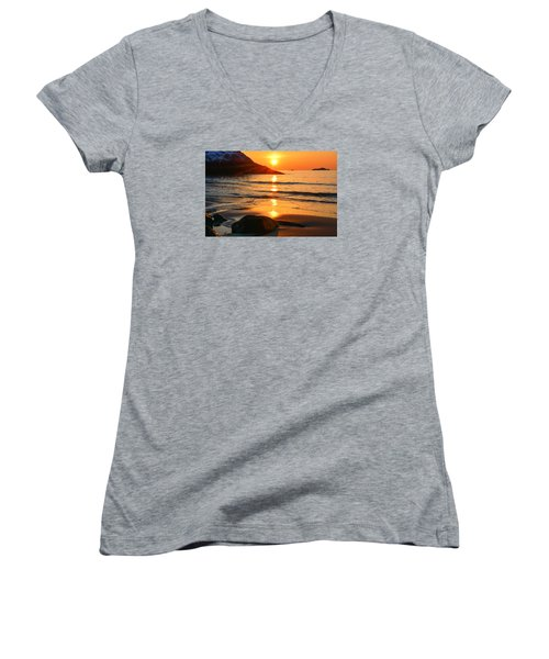 Golden Morning Singing Beach Women's V-Neck (Athletic Fit)
