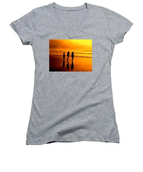 Women's V-Neck T-Shirt (Junior Cut) featuring the photograph Golden Sands  by Micki Findlay
