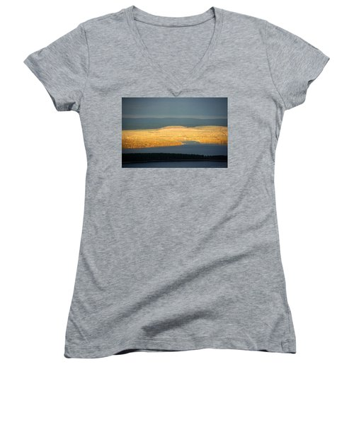 Golden Shores Women's V-Neck T-Shirt (Junior Cut) by Leena Pekkalainen