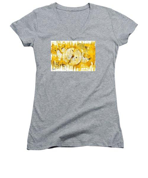 Women's V-Neck T-Shirt (Junior Cut) featuring the painting Golden Sun Rise - 1290.121912 by Kris Haas