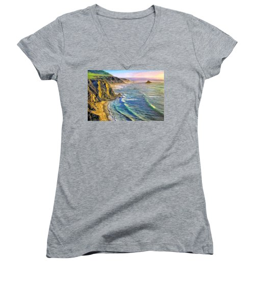 Golden Sunset At Big Sur Women's V-Neck