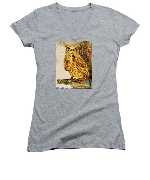 Women's V-Neck T-Shirt (Junior Cut) featuring the painting Goldene Bier Eule by Beverley Harper Tinsley