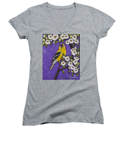 Women's V-Neck T-Shirt (Junior Cut) featuring the painting Goldfinch In Pear Blossoms by Jennifer Lake
