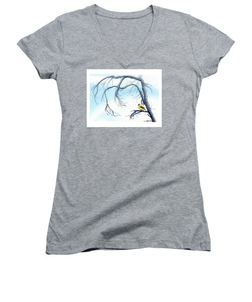 Goldfinch In Tree Women's V-Neck (Athletic Fit)