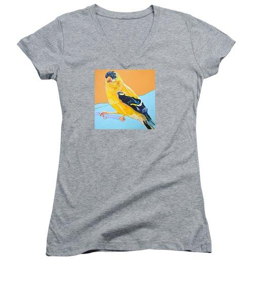 Goldfinch Women's V-Neck T-Shirt (Junior Cut) by Jamie Downs