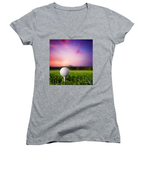 Golf Ball On Tee At Sunset Women's V-Neck (Athletic Fit)