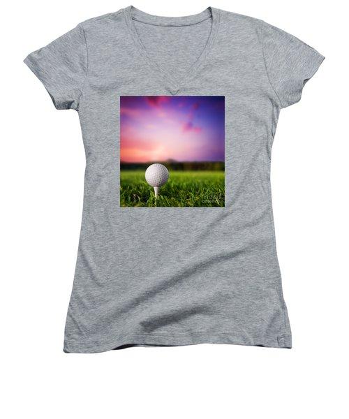 Golf Ball On Tee At Sunset Women's V-Neck T-Shirt