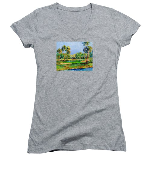 Women's V-Neck T-Shirt (Junior Cut) featuring the painting Golf In The Tropics by Lou Ann Bagnall