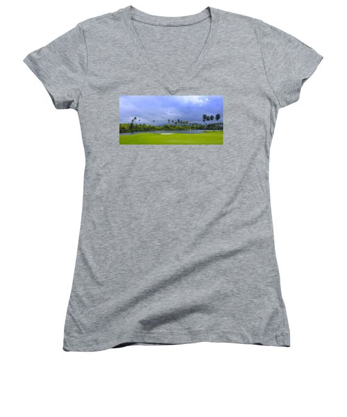 Golfer's Paradise Women's V-Neck T-Shirt (Junior Cut) by Stephen Anderson