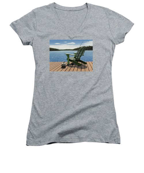 Gone Fishing Women's V-Neck T-Shirt (Junior Cut) by Kenneth M  Kirsch