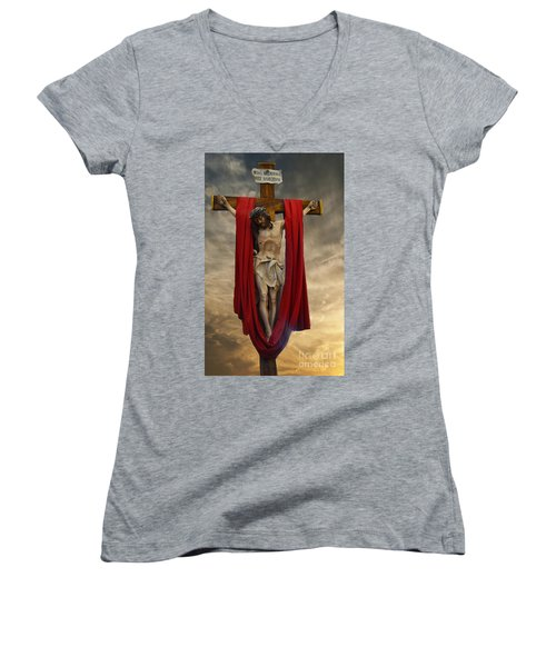 His Ultimate Gift Of Mercy - Jesus Christ Women's V-Neck (Athletic Fit)