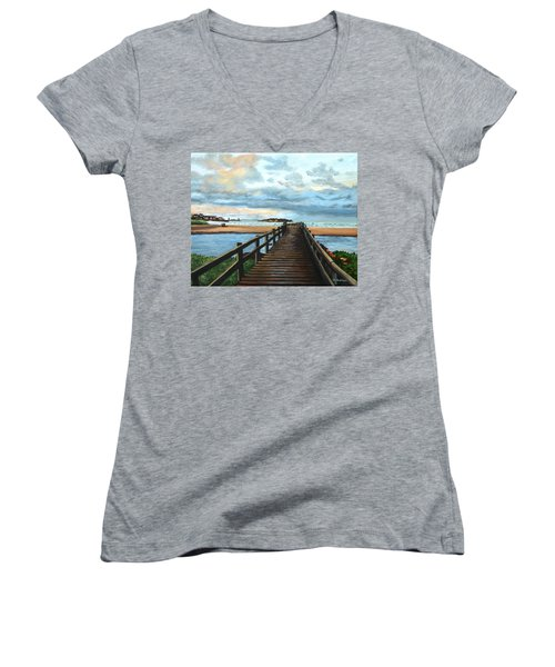 Good Harbor Beach Gloucester Women's V-Neck T-Shirt (Junior Cut) by Eileen Patten Oliver