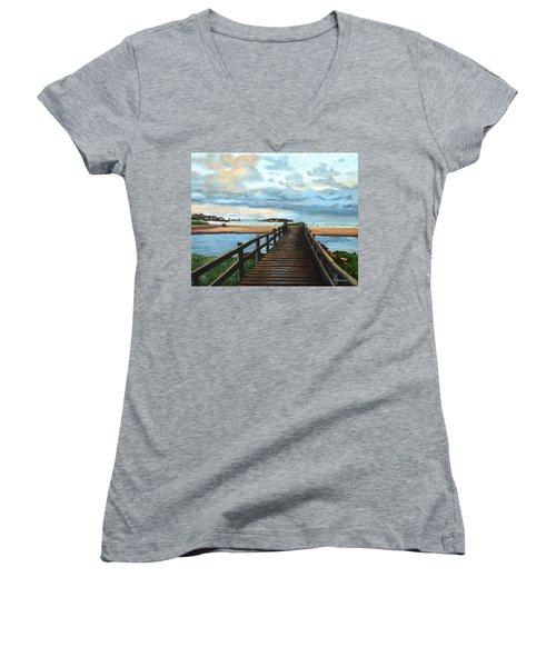 Good Harbor Beach Gloucester Women's V-Neck T-Shirt