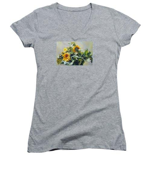 Good Morning - Sunflower In Love Women's V-Neck T-Shirt