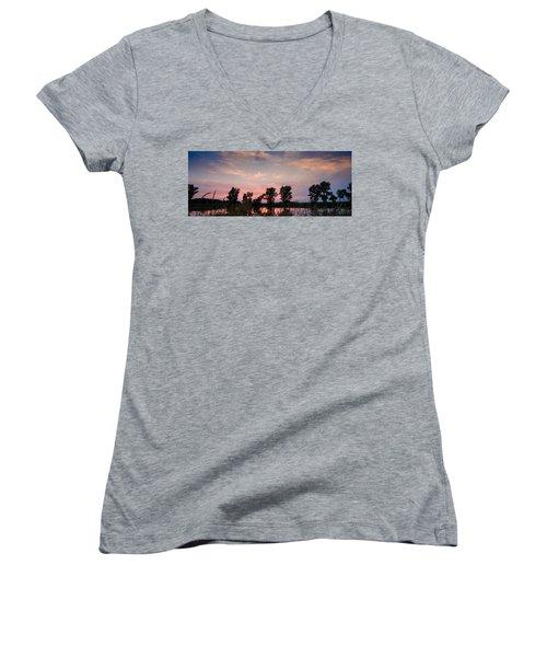 Goose Lake Prairie Sunset Women's V-Neck T-Shirt