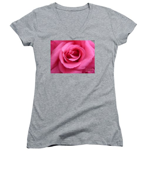 Women's V-Neck T-Shirt (Junior Cut) featuring the photograph Gorgeous Pink Rose by Vicki Spindler