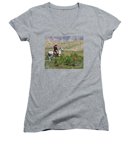 Gotcha' Women's V-Neck T-Shirt (Junior Cut) by Bob Hislop