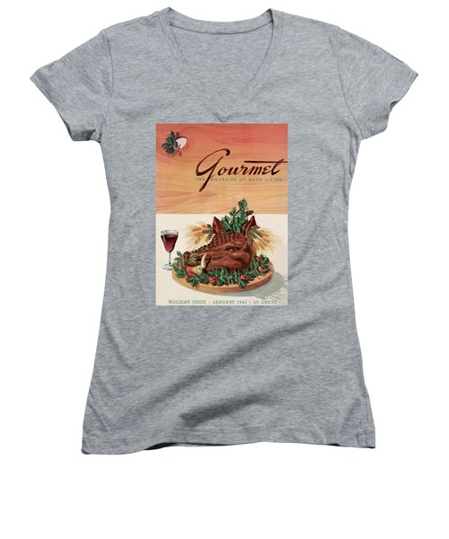 Gourmet Cover Featuring A Boar's Head Women's V-Neck
