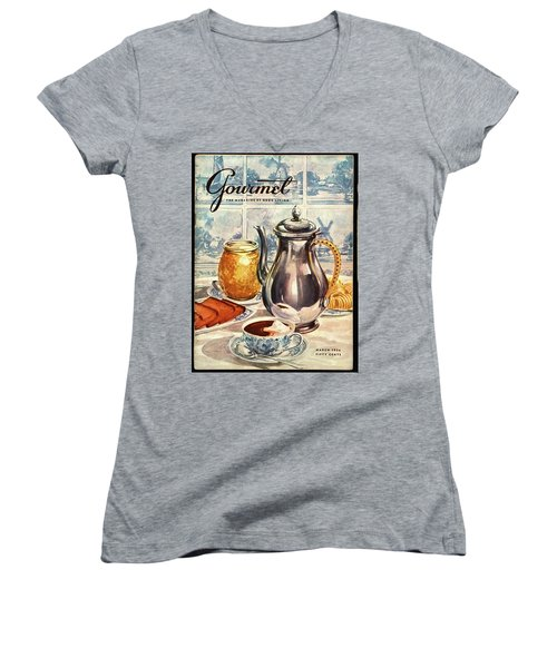 Gourmet Cover Featuring An Illustration Women's V-Neck