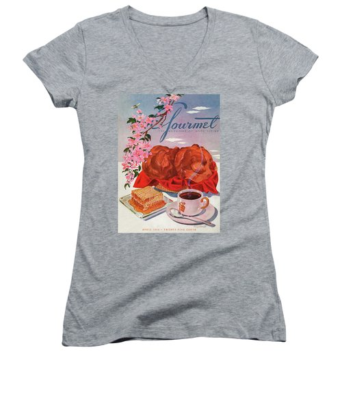 Gourmet Cover Illustration Of A Basket Of Popovers Women's V-Neck
