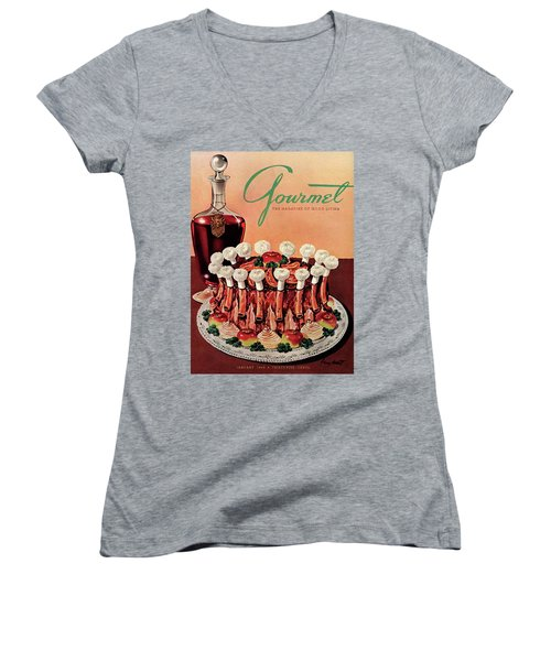 Gourmet Cover Illustration Of A Crown Roast Women's V-Neck