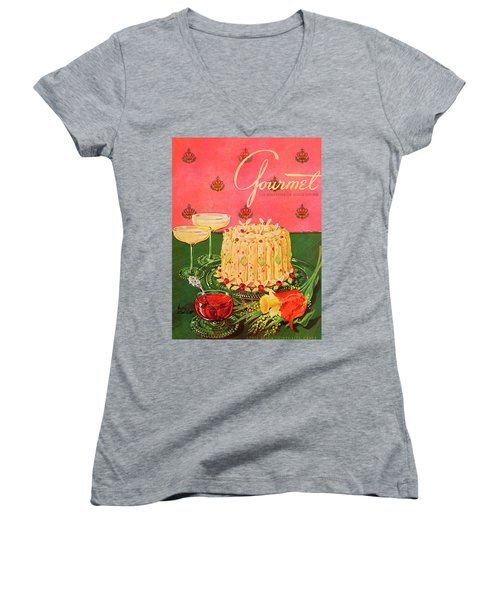 Gourmet Cover Illustration Of A Molded Rice Women's V-Neck