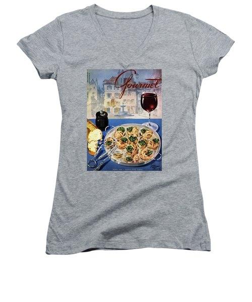 Gourmet Cover Illustration Of A Platter Women's V-Neck